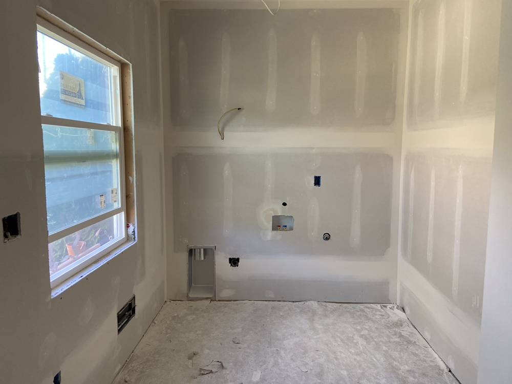 drywall phase on laundry room renovation