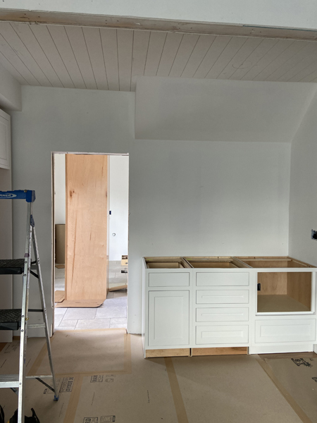kitchen with planked ceiling