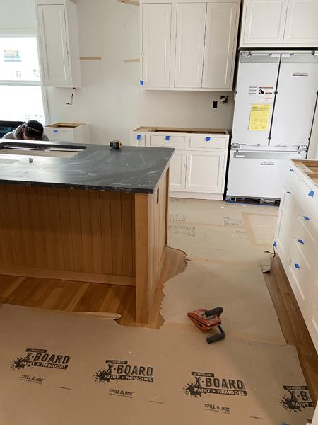 white oak cabinet with soapstone counter