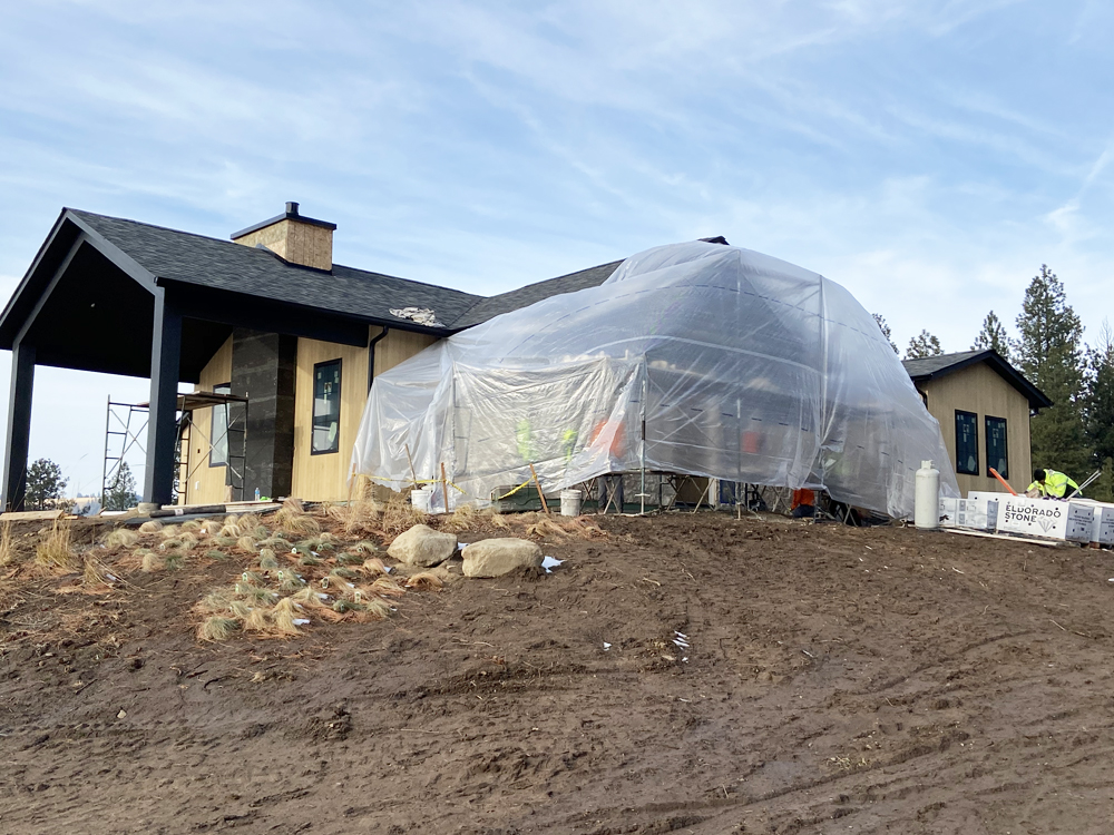stone installation with coverage