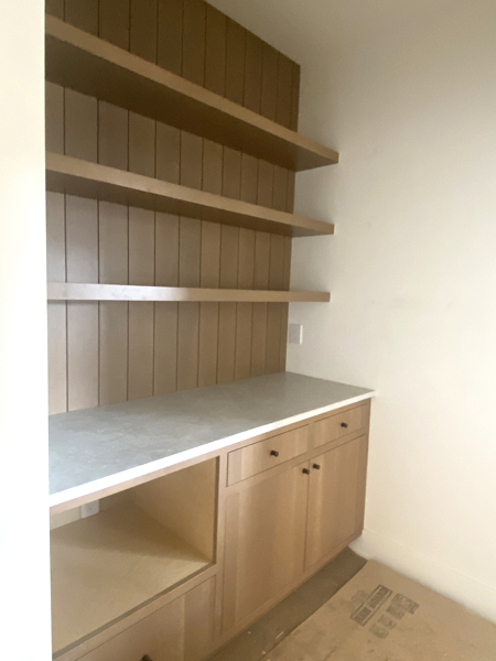 pantry with plank wall