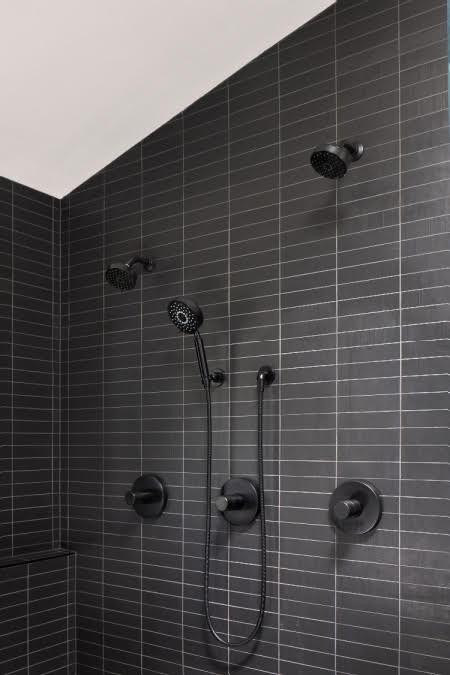 shower with black modern tile