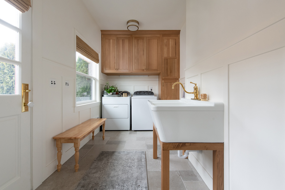 white oak cabinets in laundry room