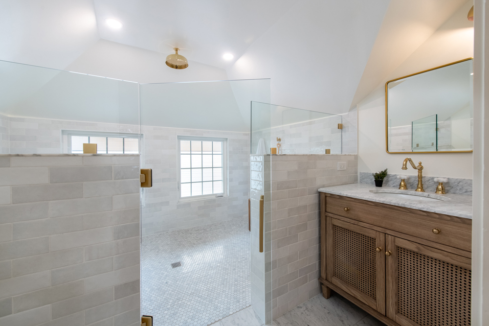 white bathroom with walk in shower